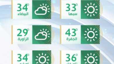 Photo of درجات حرارة مرتفعة في أغلب مناطق ليبيا مع رياح مثيرة للأتربة